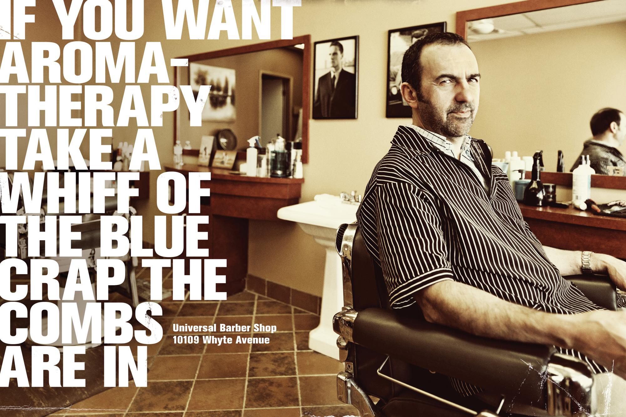 Barber Pics : Print ad: Universal Barber Shop: Aromatherapy