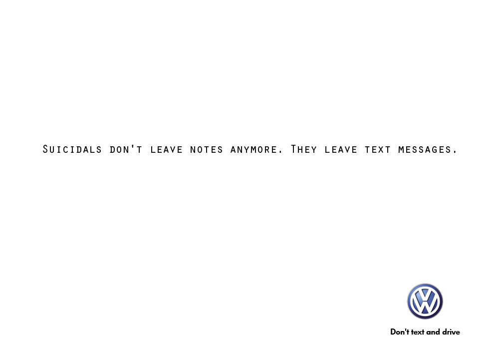 Print Ad Marcos Botelho Volkswagen Texting And Driving