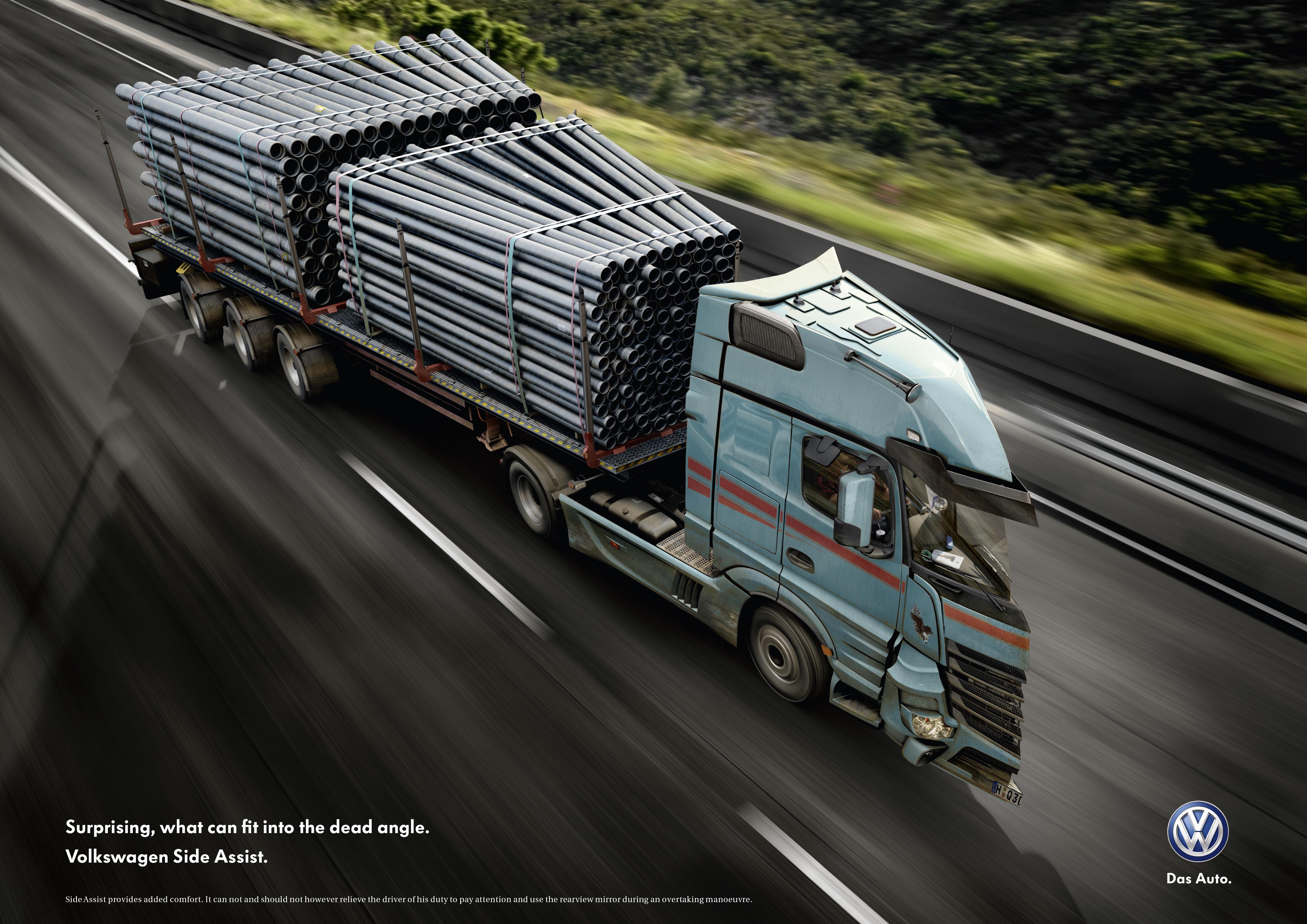 Print Ad Volkswagen Pipe Truck
