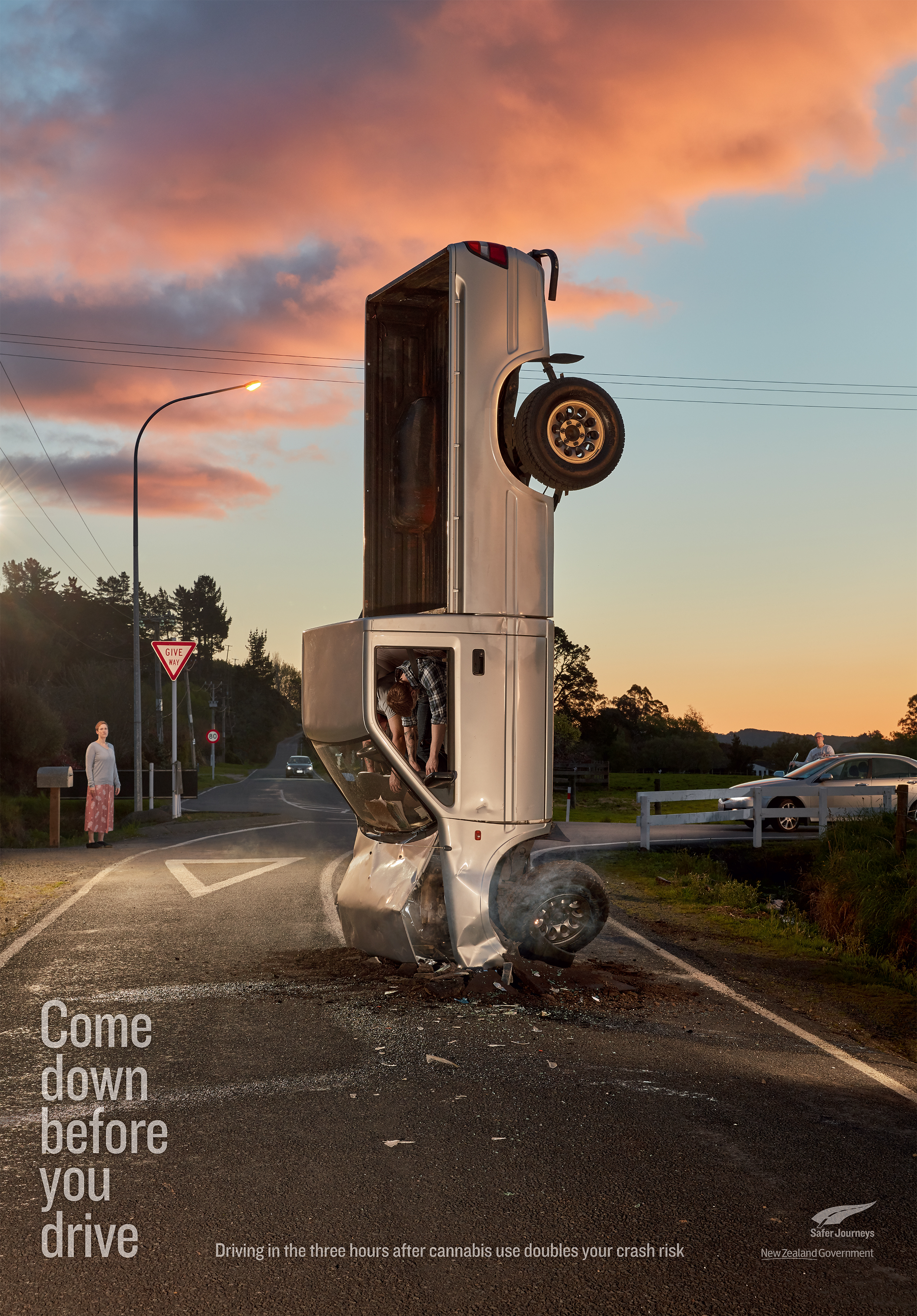 Print ad: NZ Transport Agency: High Crashes - Countryside