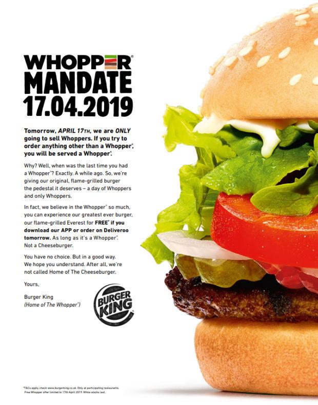 Print ad: Burger King: Whopper Mandate